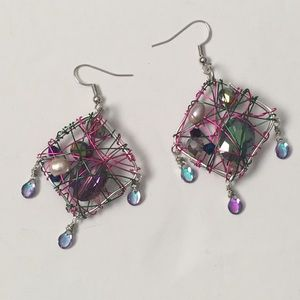 Handmade wire wrapped cage earrings